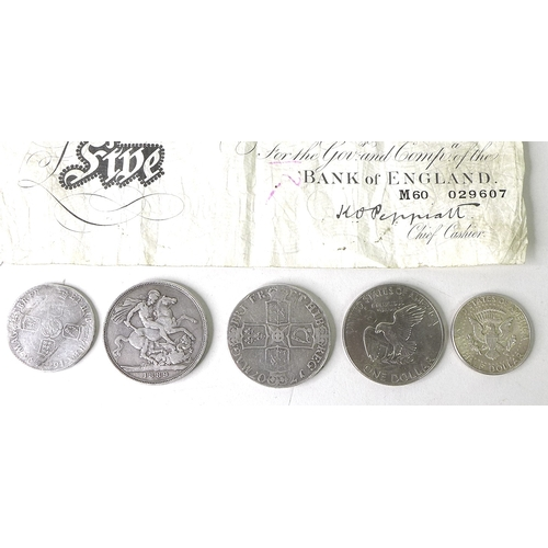 86 - Numismatic: a collection of coins and notes comprising a Queen Anne silver crown, with lauriate bust...