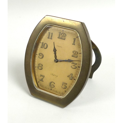 217 - An Art Deco Asprey travel clock, 8 days Swiss movement, the circular dial with Arabic numerals and m...