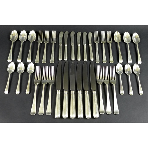 45 - A C J Vander suite of Elizabeth II silver cutlery, six place settings, comprising six table knives, ...