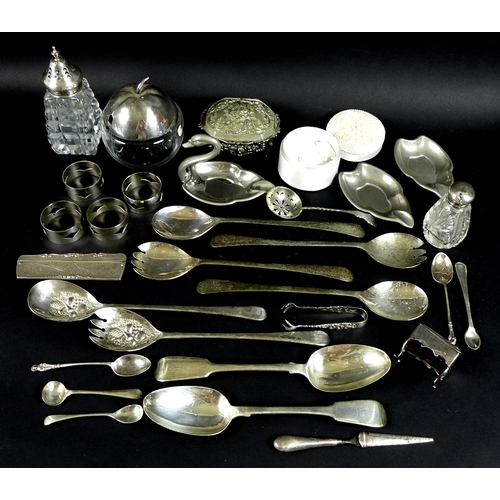 40 - A group of silver and plated items, comprising a pair of George IV serving spoons, London 1836, Morr...