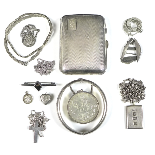 133 - A small collection of silver and white metal jewellery, including a small George V silver cigarette ...