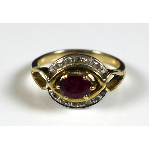 134 - A group of 9ct and 14ct gold jewellery, comprising a 14ct yellow gold, ruby and diamond ring, the ce...