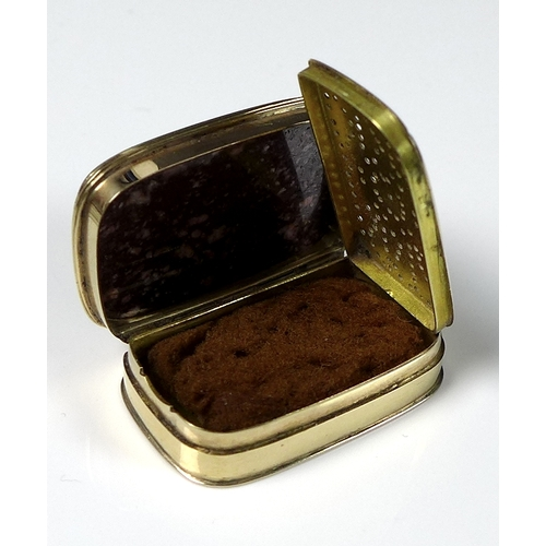 219 - A Georgian yellow metal vinaigrette, the hinged lid set with malachite and porphyry, the interior wi...
