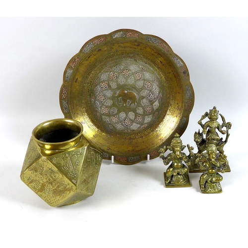 111 - A Chinese polished bronze vase, 20th century, of faceted form of square and triangular panels with f...