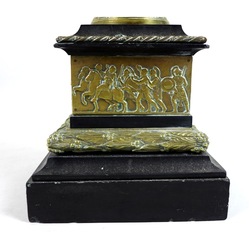 113 - A Victorian cast brass decorative urn, in Greek style, with finial to cover, cast decoration of prof...