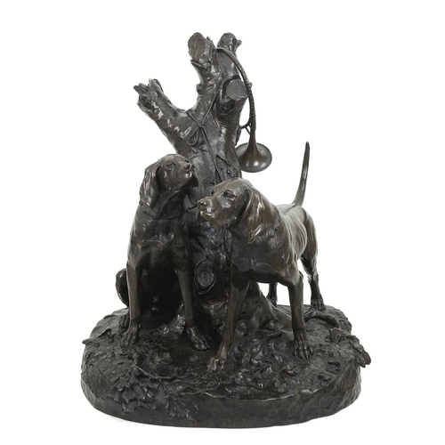 120 - After Auguste Nicolas Cain (French, 1822-1894): a large bronze figural group, modelled as two huntin...
