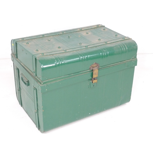 342 - A Victorian metal trunk, green painted exterior, with brass lock stamped 'Thomasson's Patent No 1666...