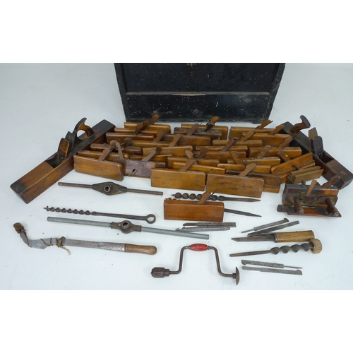 343 - A collection of 19th century and later woodworking tools, having belonged o George Bagshaw, head car...