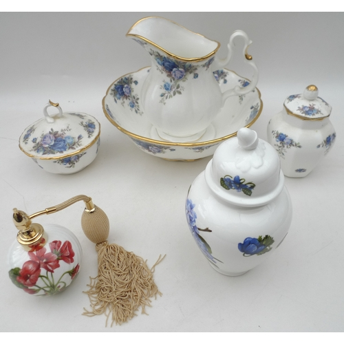 1 - A group of Royal Albert 'Moonlight Rose' pattern items, comprising ewer, basin and powder bowl, all ...