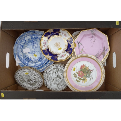4 - A group of early 19th century and later porcelain china plates and dishes, including a Royal Crown D...