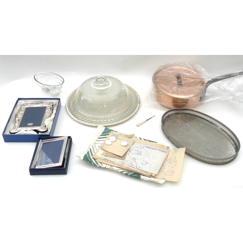 11 - A selection of silver, silver plated items and glassware, including two silver photograph frames and...