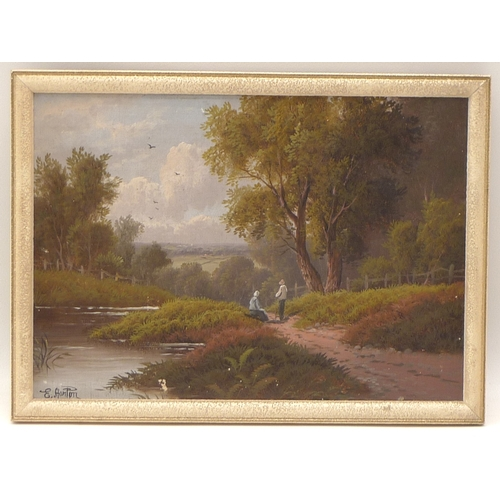 17 - Etty Horton (active 1884-1918): figures beside a river, looking to the distant view of a hillside pa...