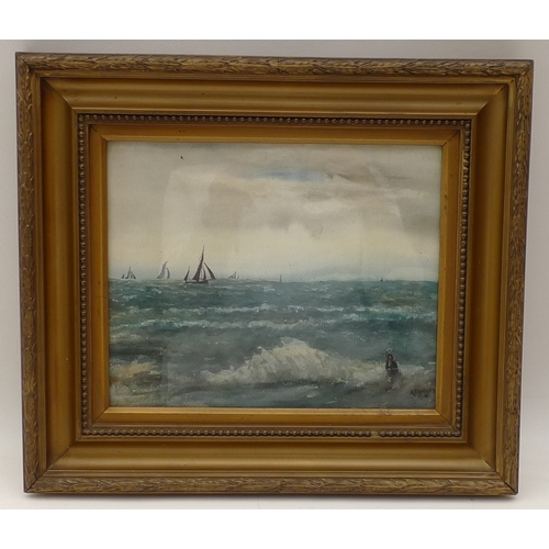 19 - A. Phillips (British, exh. 1887-1918): 'The North Sea', with  sailing ships on the horizon, watercol...