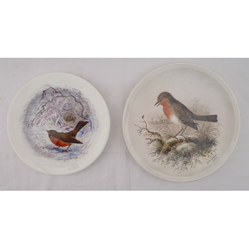 31 - A late Victorian hand painted wall plate, depicting a robin, signed John Duncan 1894, with presentat...