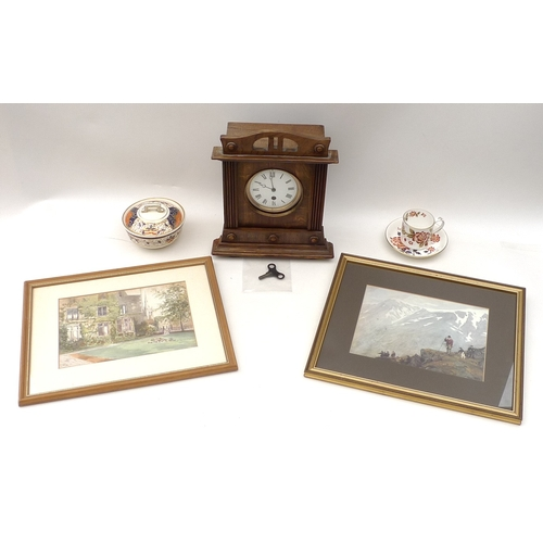 33 - An early 20th century mantle clock, an unusual Art Deco style photograph frame, the two bevelled and...