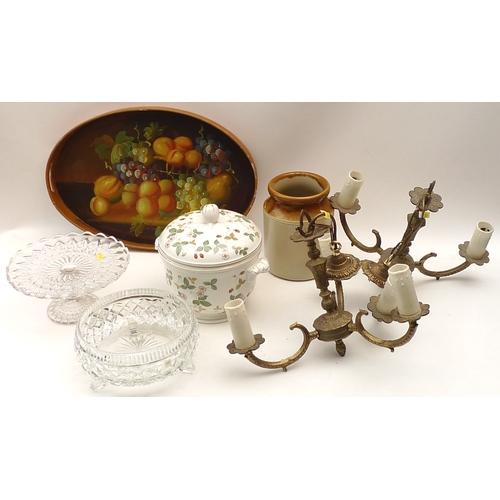 46 - A group of mixed collectables, including a Japanese inlaid panel, an Islamic style dish, an African ...