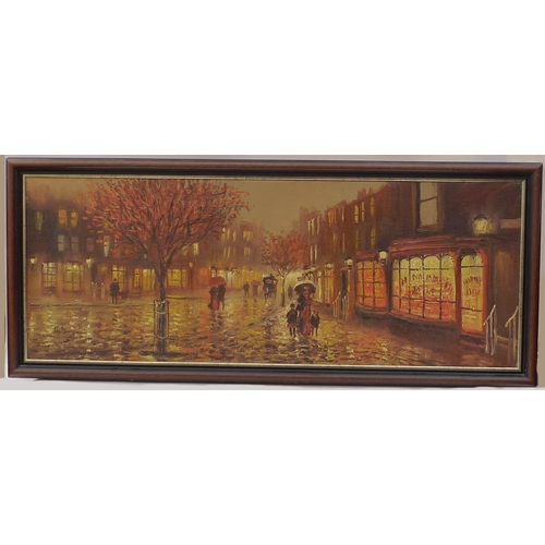 48 - John Bampfield (British, 20th century): a large oil on canvas titled 'The Old Town', depicting a Con...