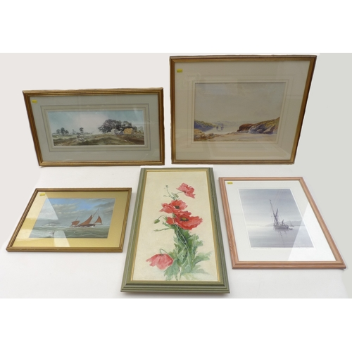 50 - A group of five watercolours and oil paintings, comprising J. M. Wheldon: a brown sailed boat at sea...