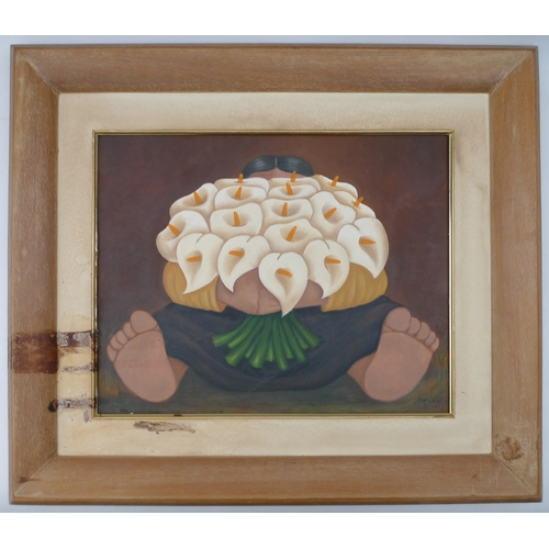54 - In the style of Diego Rivera (Mexican, 1886–1957): a painting of a girl holding a bouquet of arum li...