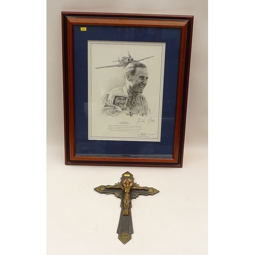 55 - A General Gunther Rall signed print, after John D Shaw, together with a brass wall crucifix, engrave...