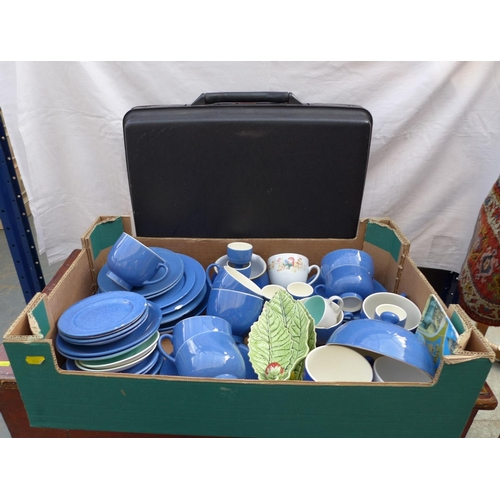 64 - A Moorcroft part breakfast set, blue and white glaze, together with a Samsonite briefcase and a sele...