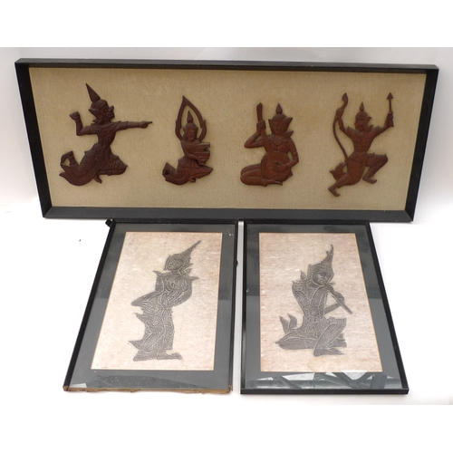 77 - A pair of 20th century brass elephants, together with a selection of Thai pictures and a set of thre...