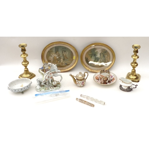 78 - An interesting selection of items, including an English porcelain imari palette cup and saucer, a li...
