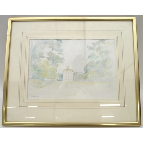83 - Simon Garrow (b1946): Ashdown House, coloured pencil drawing one of three images of National Trust p...