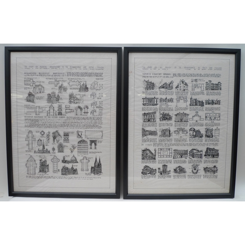 88 - A pair of 20th century architectural pen and ink on tracing paper posters or drawings, one titled 'T...