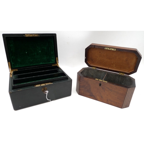 103 - A Victorian tea caddy, inlaid detailing to body, together with a Victorian green leather jewellery b...