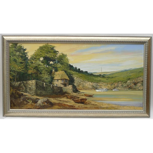 105 - Alan King (British, 1946-2013)- a large oil on canvas painting of a Devon beach, gilt frame....