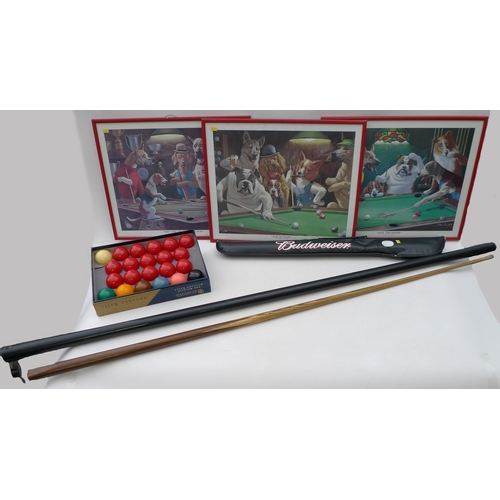 112 - A collection of snooker related items including two cues, a set of snooker balls in original box and...