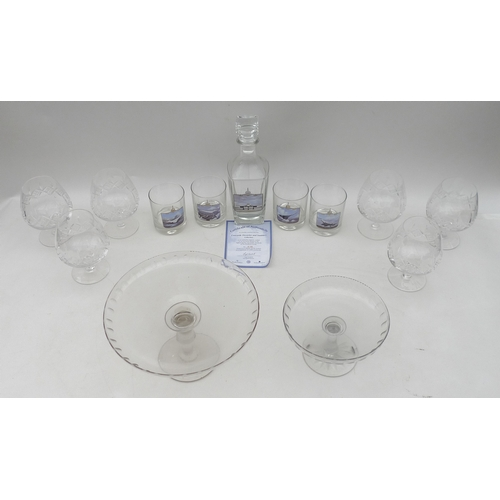 118 - A selection of glassware including a Concorde commemorative decanter with set of four matching glass...
