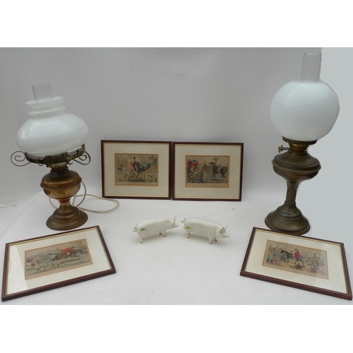 119 - Two Victorian oil lamps, one converted to electricity, together with four hinting prints and two Bes...
