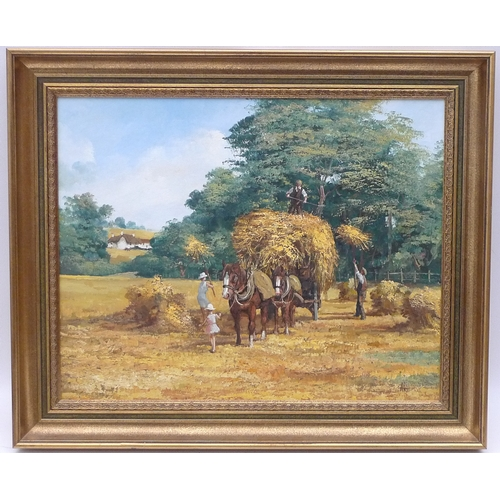 121 - Alan King (British, 1946-2013): 'Golden Harvest', oil on canvas, framed....