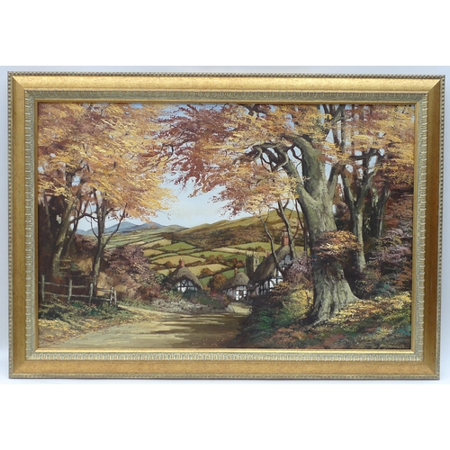 122 - Alan King (British, 1946-2013) - 'Journey to the Malven Hill', oil on panel, framed....