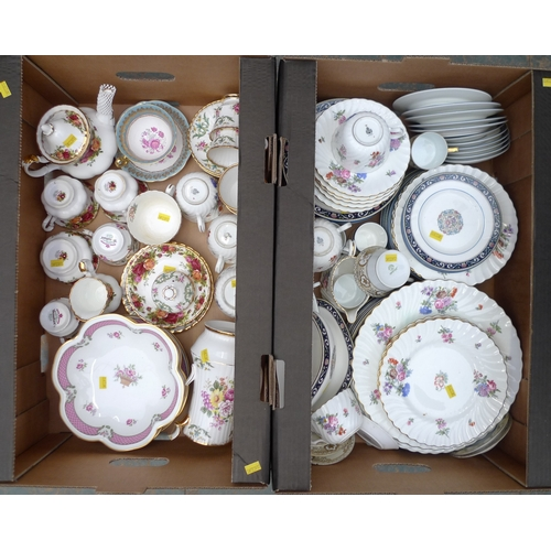 130 - A quantity of mixed china, including an eight piece Royal Albert 'Old Country Roses' pattern tete a ...