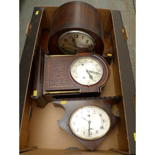 140 - A group of three mantel clocks, each with silvered dials and Arabic numerals. (3, 1 box)...