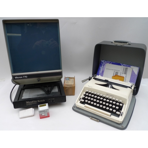 141 - A Remington typewriter, together with a Micron 770 microfiche viewer. (2)...
