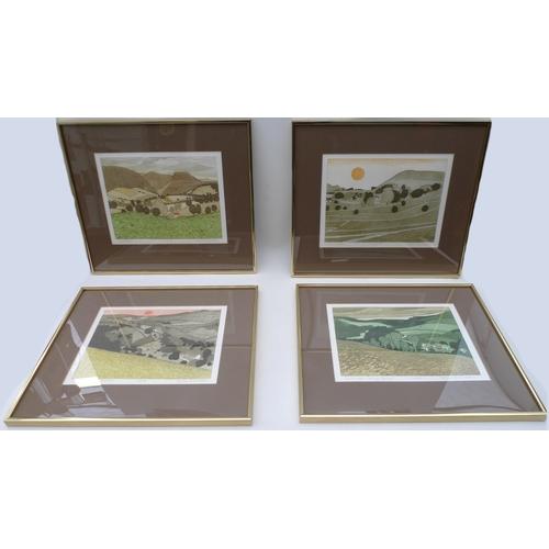 143 - John Brunsdon (1933-2014): a set of four limited edition coloured etchings, entitled Chelmorton, num...