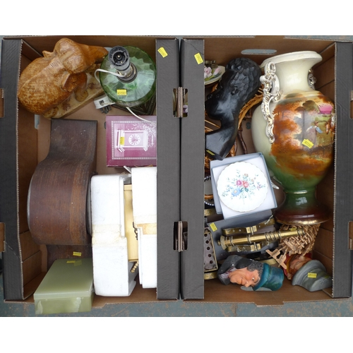 146 - A collection of mixed collectables, including a model canon, one wooden and two brass effect mantel ...
