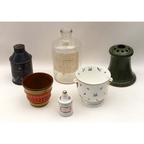 151 - A selection of items including a late 19th century navy tin tea caddy, a 20th century porcelain opiu...