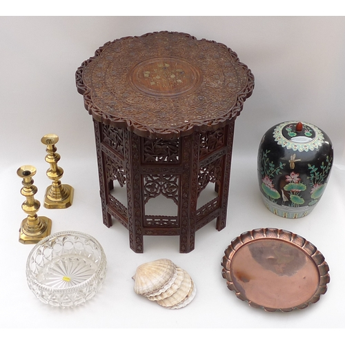 157 - A collection of metalware and collectables, including a late 20th century Chinese ginger jar, a Burm...