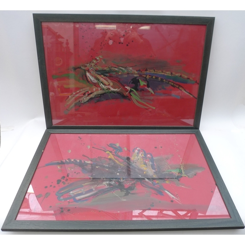 158 - Lucette  De la Fougere (1921−2010): Pheasant Abstract I and II, gouache on red paper, framed, each 5...