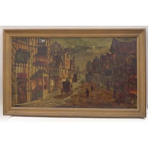 160 - Frank Hider (British, 1861-1933): Victorian street scene, oil on board, signed lower right, 59 by 10...