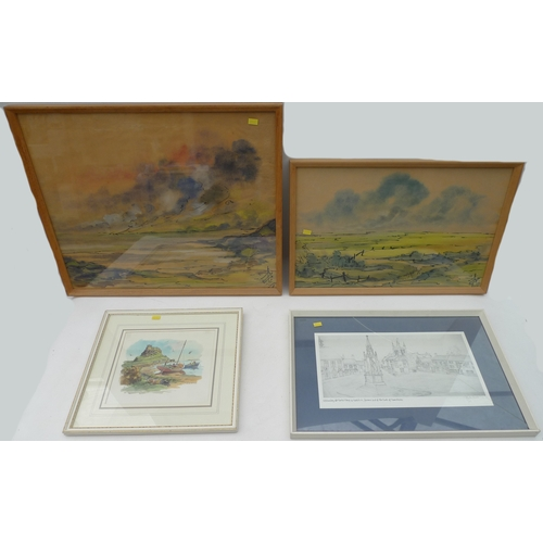 165 - A group of pictures includin a Ronald Moore watercolour of Holy Island with Lutyens castle in the ba...
