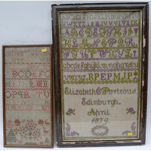 191 - Two samplers on linen, one with Alphabet in lilac and green threads on open weave linen, by Elizabet...