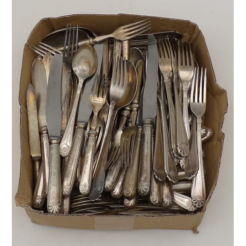 192 - A quantity of silver plated flatware circa 1930, comprising knives, forks, dessert knives and forks,...