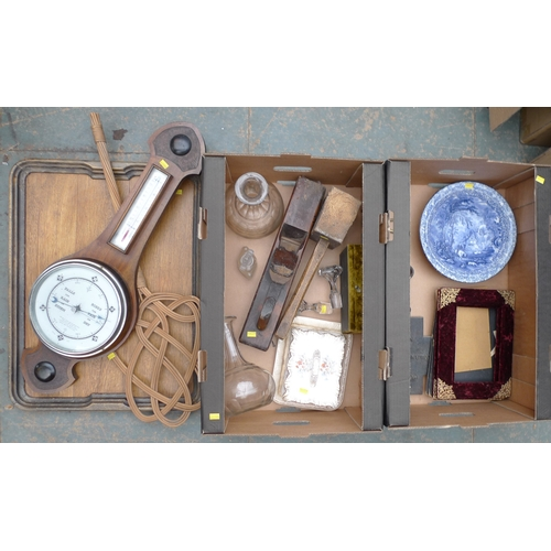 173 - A quantity of mixed collectables, comprising a mahogany wheel barometer and thermometer, a pair of b...