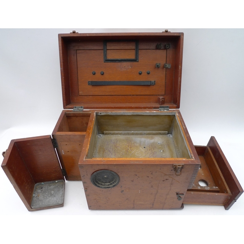 175 - A fitted mahogany scientific instrument box with two taller bottle compartments, a light tray with p...